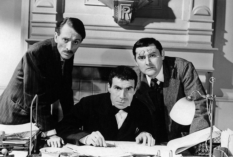 Jean Bellanger, Jacques Dufilho et Roger Carel dans Le Petit prof (Carlo Rim, 1959)