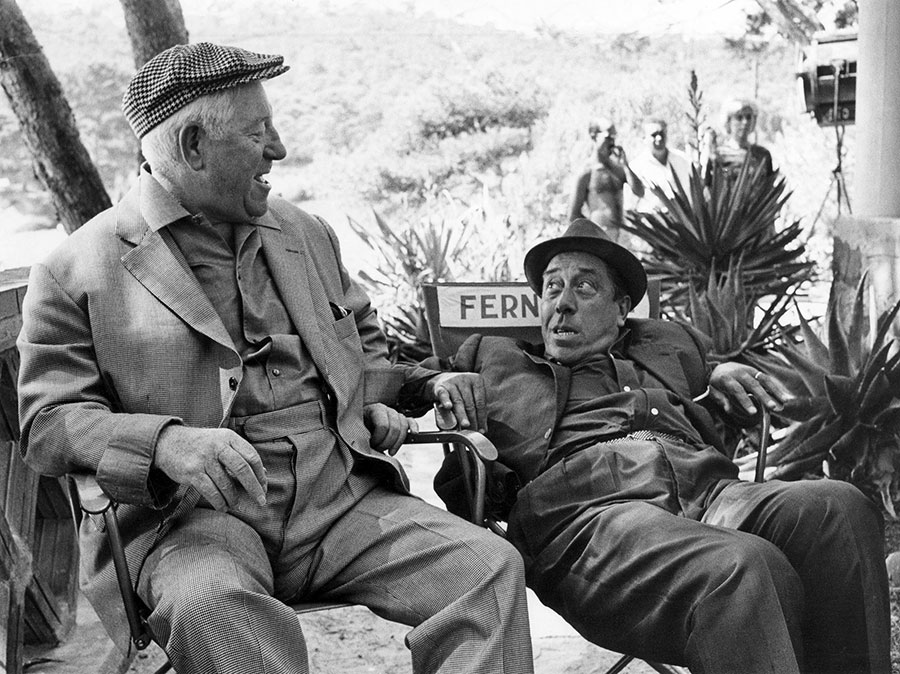 Jean Gabin et Fernandel sur le tournage de L'Âge ingrat (Gilles Grangier, 1964) - DR - DR