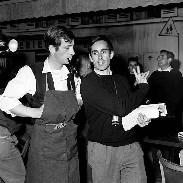 Jean-Paul Belmondo et Édouard Molinaro sur le tournage de La Chasse à l'homme (1964)