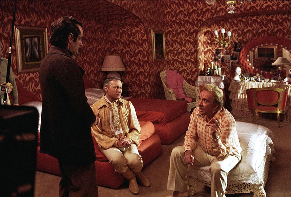 Édouard Molinaro, Michel Serrault, Ugo Tognazzi - tournage de La Cage aux folles