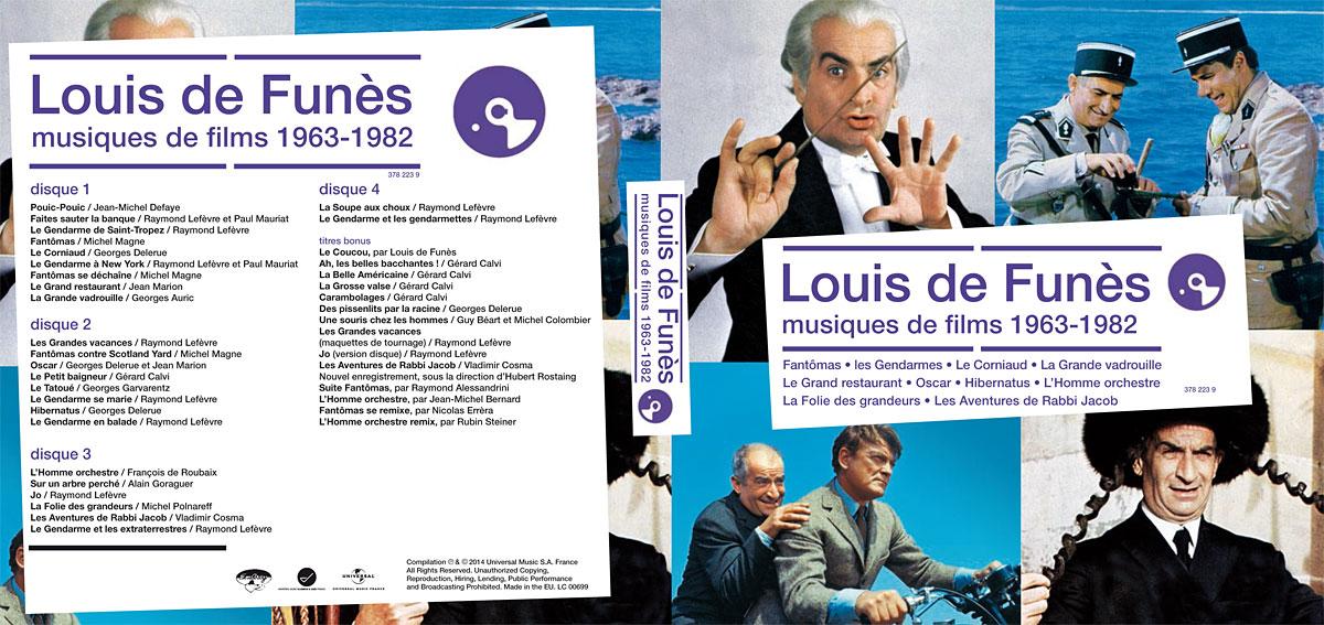 Louis de Funès en musique - Louis de Funès, musiques de films 1963-1982 (pochette recto-verso)