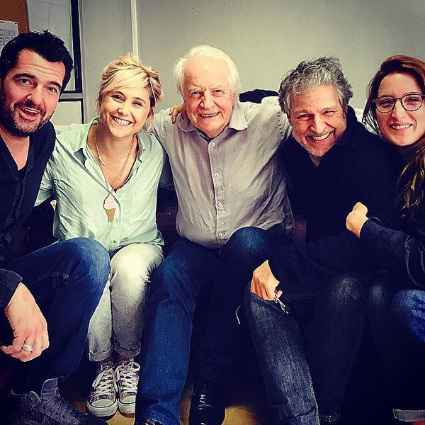 Arnaud Ducret, Bérangère Krief, André Dussollier, Nicolas Marié et Julia Piaton - tournege de Logement partagé de François Desagnat