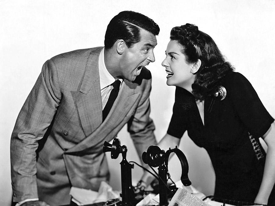 Cary Grant et Rosalind Russell dans La Dame du vendredi (Howard Hawks, 1940)