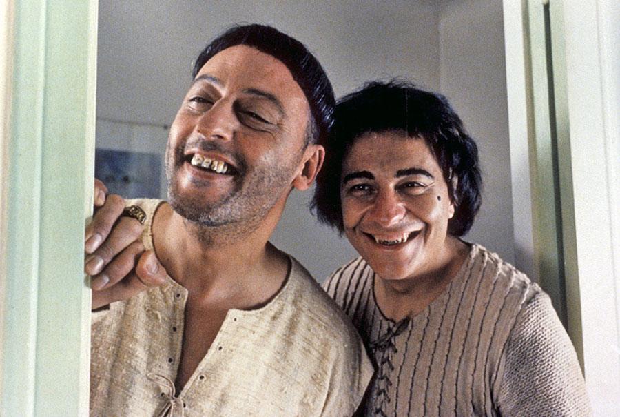 Jean Reno et Christian Clavier dans Les Visiteurs (Jean-Marie Poiré, 1993)