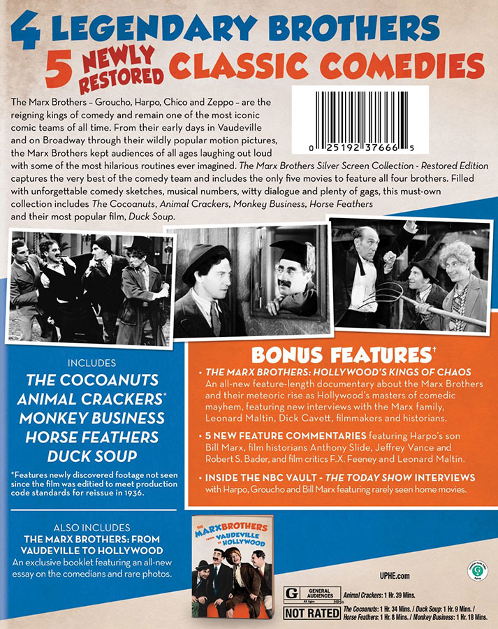 The Marx Brothers Silver Screen Collection – Restored Edition / Verso