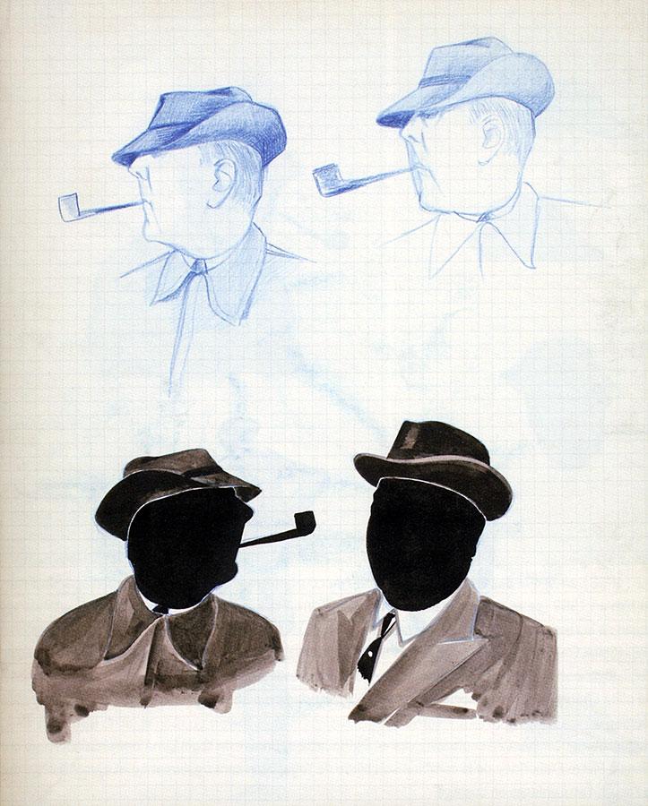 Pierre Étaix - dessins préparatoires pour Mon oncle (Jacques Tati, 1958)