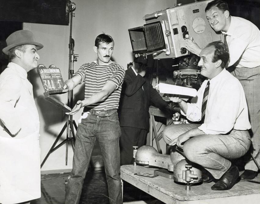 Louis de Funès, Pierre Tchernia et Robert Dhéry sur le tournage de La Belle Américaine (1961) - Photo © Bui