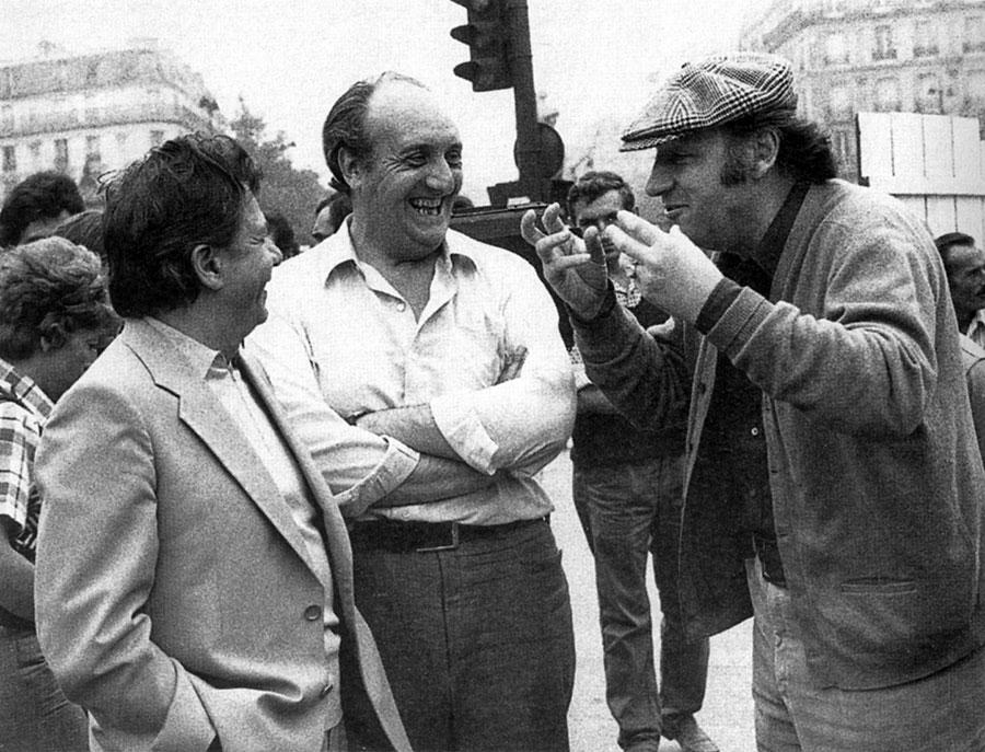 Michel Galabru, Pierre Tchernia et Philippe Noiret sur le tournage des Gaspards / Photo tirée de Magic Ciné de Pierre Tchernia (Fayard, 2003) - DR