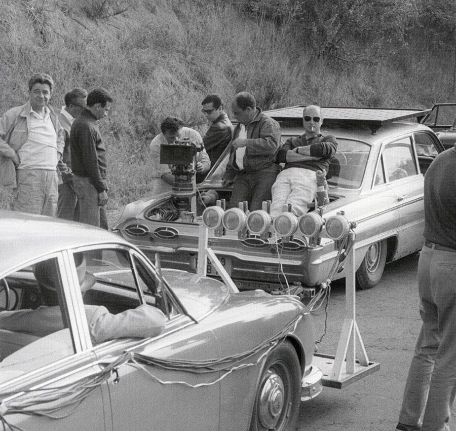 Gérard Oury en plein tournage du Corniaud