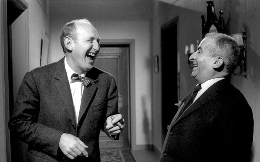 Bourvil et Louis de Funès sur le tournage du film de Gérard Oury Le Corniaud (1965)