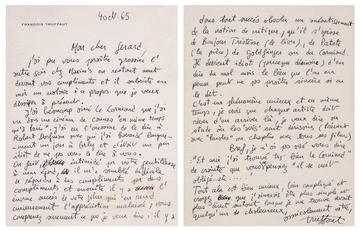 Lettre de François Truffaut à Gérard Oury après la sortie du Corniaud - © collection Danièle Thompson