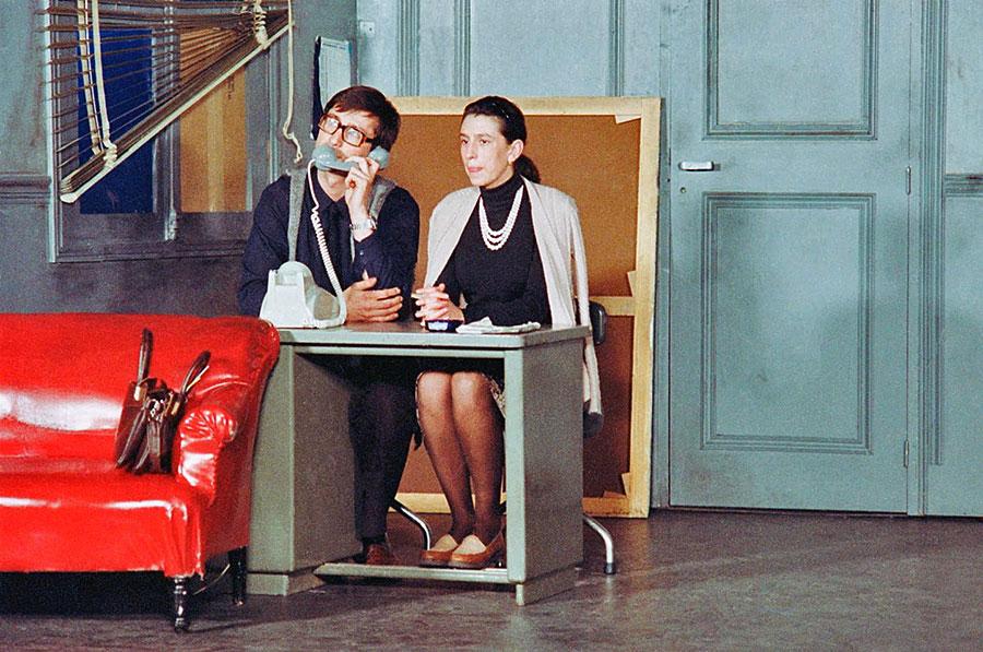 Thierry Lhermitte et Anémone sur scène dans Le Père Noël est une ordure - © collection personnelle Christian Clavier