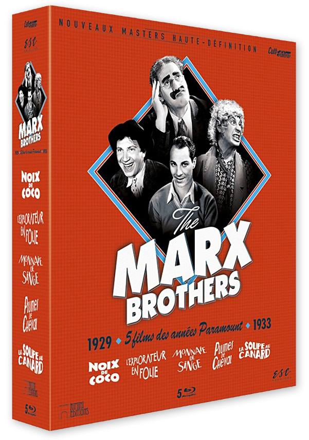 The Marx Brothers – Coffret Blu-ray 5 Films : Noix de coco, L'Explorateur en folie, Monnaie de singe, Plumes de cheval, La Soupe au canard (ESC Distribution)
