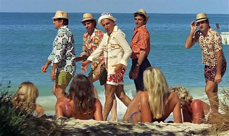 Lino Ventura, Jacques Brel, Charles Gérard, Charles Denner et Aldo Maccione dans L'Aventure c'est l'aventure (Claude Lelouch, 1972)