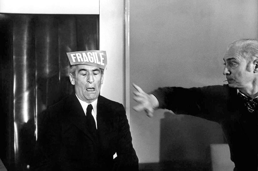 Louis de Funès et Gérard Oury sur le tournage des Aventures de Rabbi Jacob (1973)