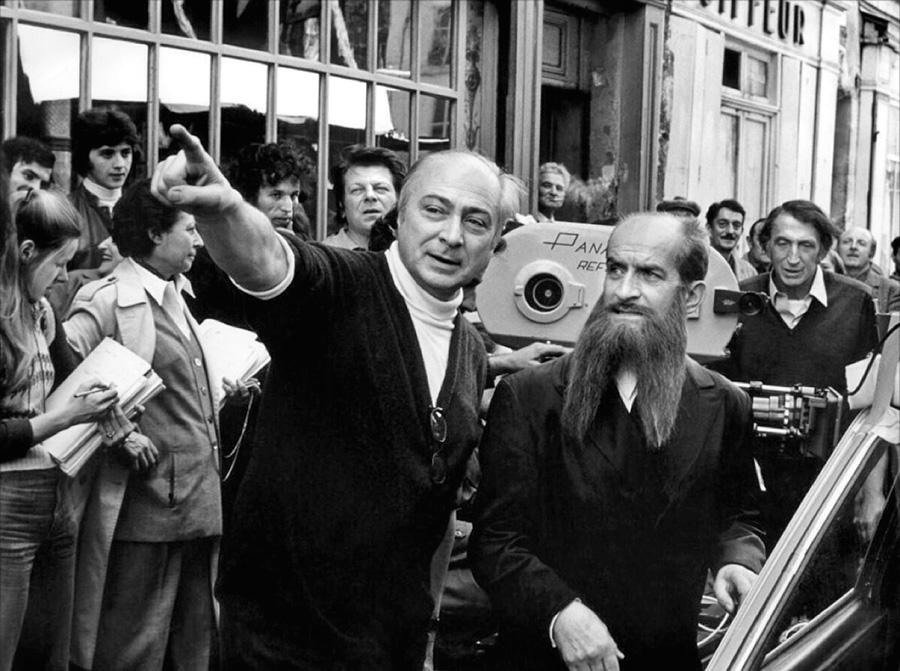 Louis de Funès et Gérard Oury sur le tournage des Aventures de Rabbi Jacob (1973) - © DR