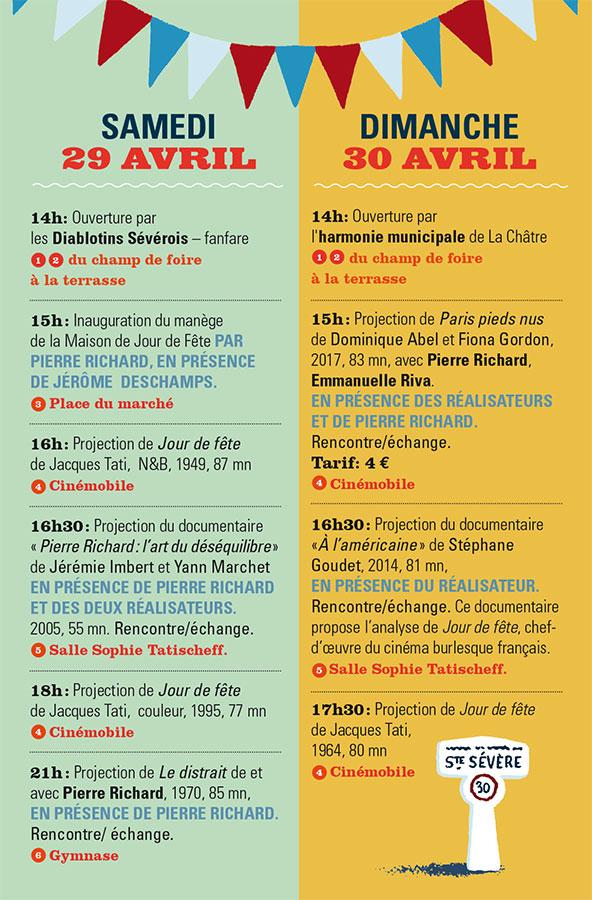 Programme des 70 ans du tournage de Jour de fête à Sainte-Sévère / 29-30 avril 2017