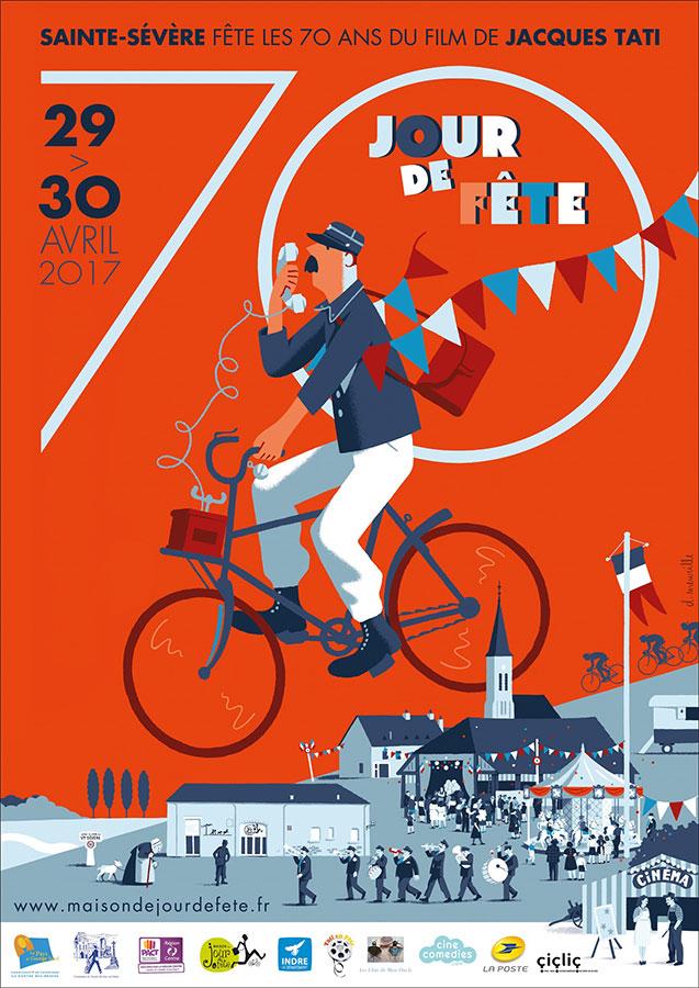 Affiche des 70 ans du tournage de Jour de fête à Sainte-Sévère illustrée par David Merveille