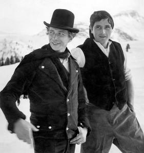 Pierre Richard et Victor Lanoux à Courchevel devant la caméra de Jacques Rozier dans les années 1960 - © collection personnelle Pierre Richard