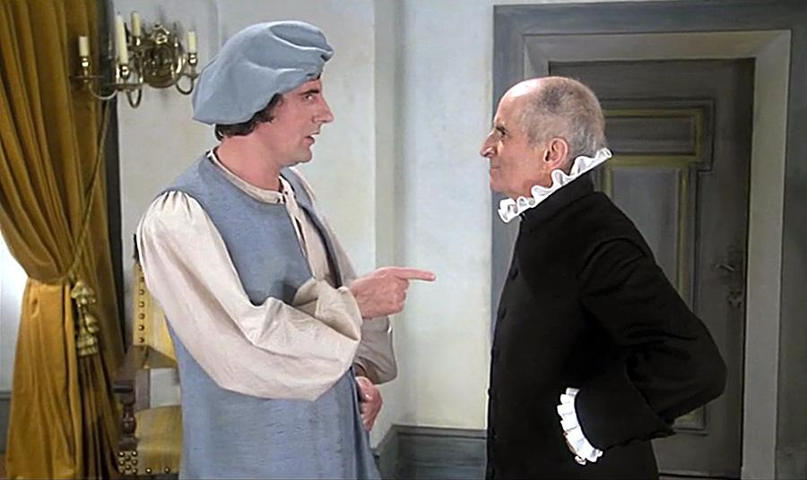 Bernard Menez et Louis de Funès dans L'Avare ( Louis de Funès et Jean Girault, 1980)