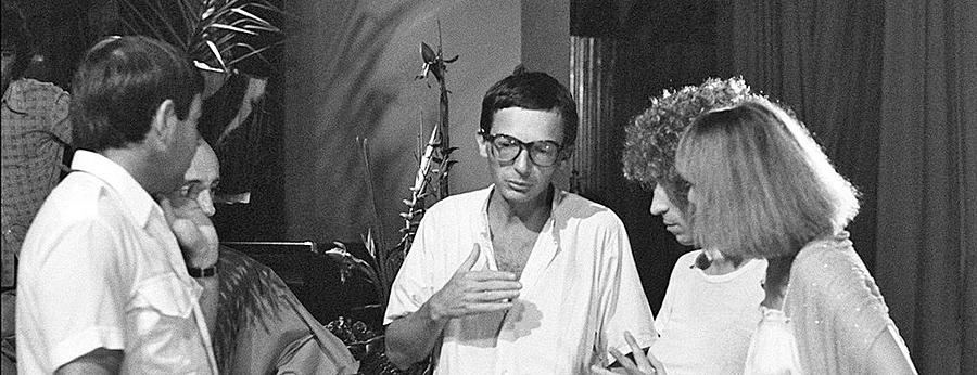Michel Blanc, Patrice Leconte, Luis Rego et Marie-Anne Chazel sur le tournage des Bronzés - © Daniel Simon