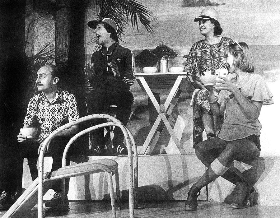 Michel Blanc, Christian Clavier, Dominique Lavanant et Marie-Anne Chazel dans Amour, Coquillages et Crustacés (1977) - D.R. Splendid