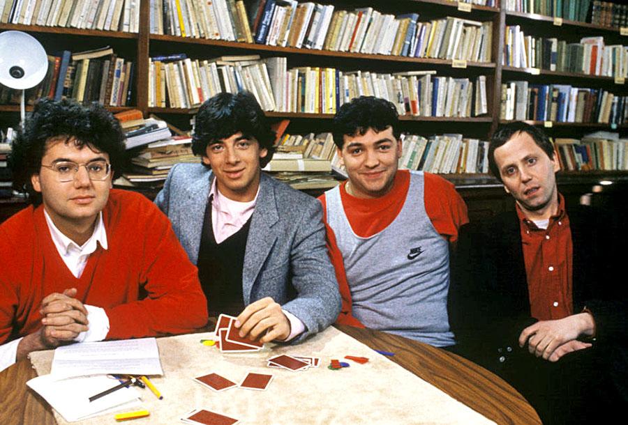 Christophe Bourseiller, Patrick Bruel, Laurent Gamelon et Fabrice Luchini dans P.R.O.F.S (Patrick Schulmann, 1985)