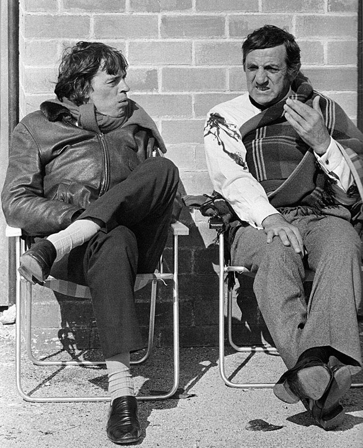 Jacques Brel et Lino Ventura sur le tournage de L'Emmerdeur (Édouard Molinaro, 1973) - © Corbis/Sygma