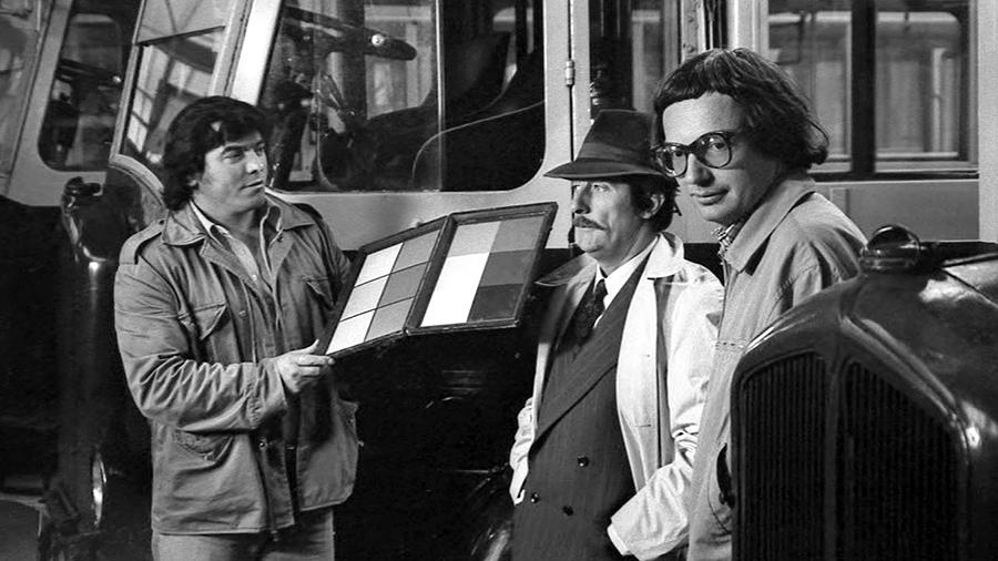 Jean Rochefort et Patrice Leconte sur le tournage du film Les Vécés étaient fermés de l'intérieur - © Gaumont