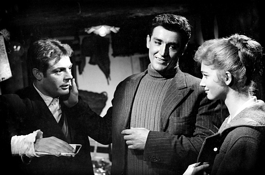 Marcello Mastroianni, Vittorio Gassman et Carla Gravina dans Le Pigeon (Mario Monicelli, 1958)