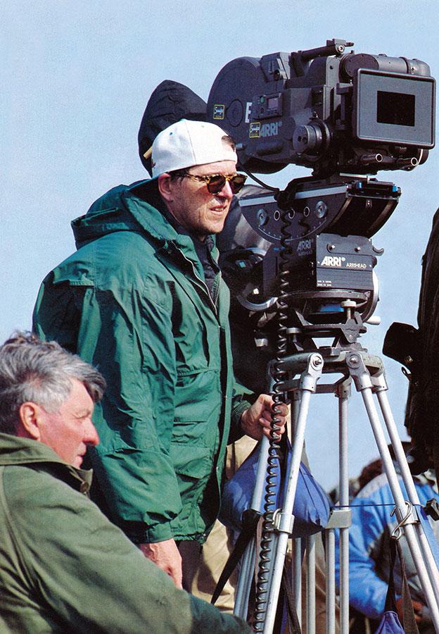 Jean-Marie Poiré sur le tournage des Visiteurs - DR