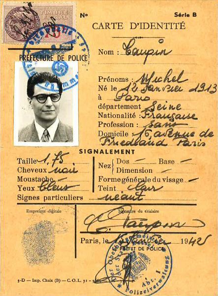 carte d'identité de Michel Taupin dans Papy fait de la résistance
