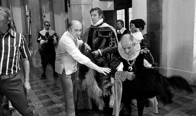 Gérard Oury, Yves Montand et Louis de Funès sur le tournage de La Folie des grandeurs