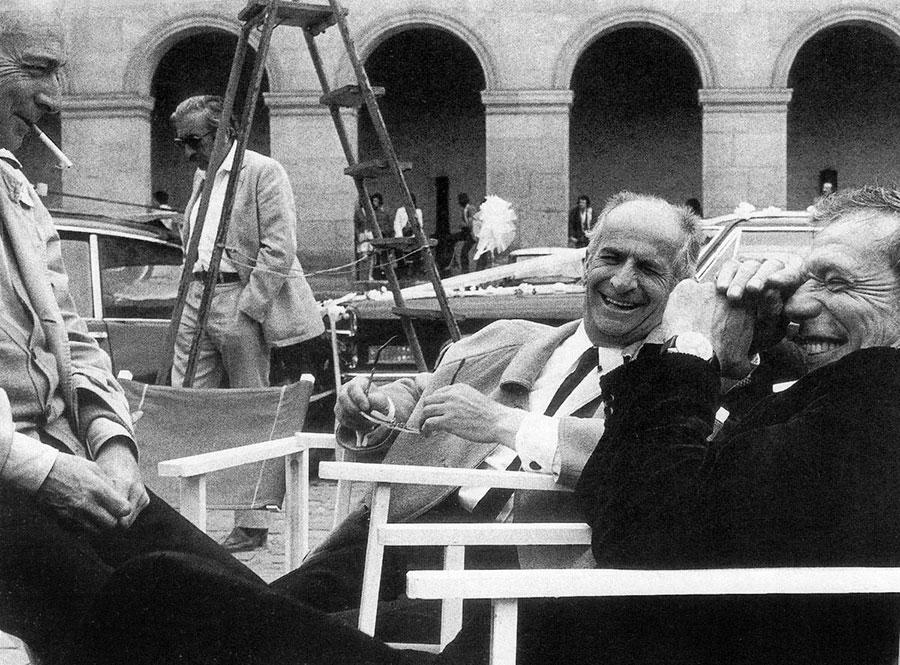 Gérard Oury, Louis de Funès et Yves Montand sur le tournage de La Folie des grandeurs