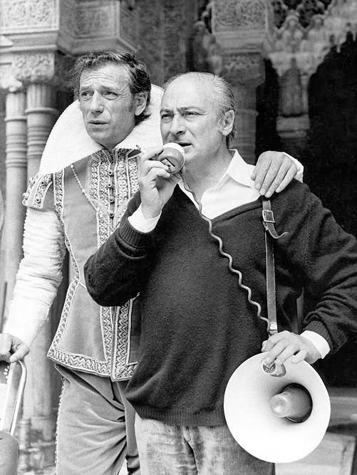 Yves Montand et Gérard Oury sur le tournage de La Folie des grandeurs