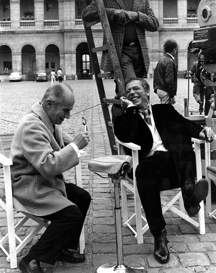 Louis de Funès et Yves Montand sur le tournage de La Folie des grandeurs (Gérard Oury, 1971)