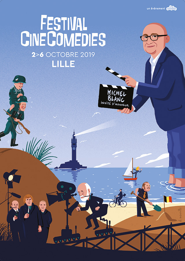 Affiche du Festival CineComedies 2019 illustrée par David Merveille