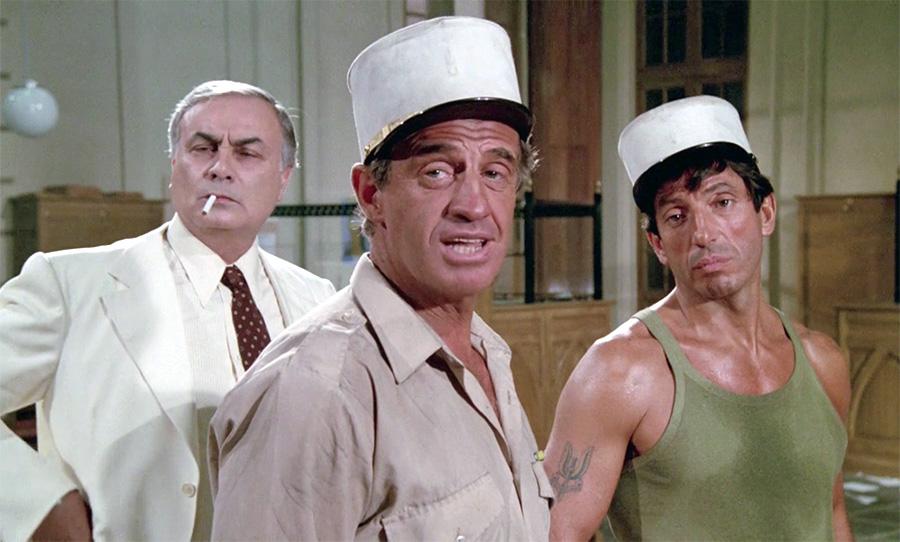 François Perrot, Jean-Paul Belmondo et Michel Creton dans Les Morfalous (Henri Verneuil, 1984)
