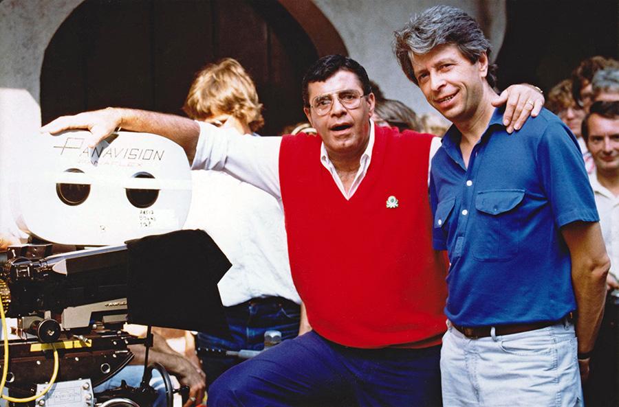 Jerry Lewis et Michel Gérard sur le tournage de Retenez-moi… ou je fais un malheur ! - © Collection personnelle de Michel Gérard