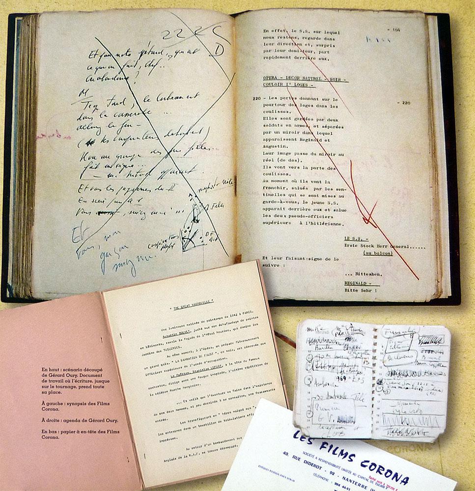 Scénario, synopsis, agenda tirés de Sur la route de La Grande Vadrouille de Vincent Chapeau (Hors Collection) - © Archives Gérard Oury - DR