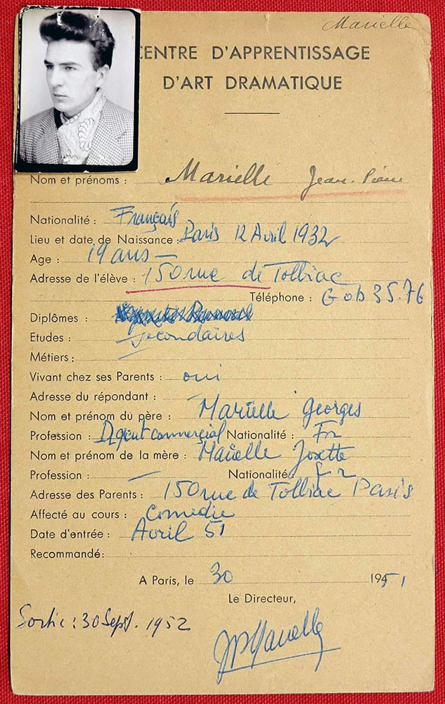 Centre d'Apprentissage d'Art Dramatique - carte de Jean-Pierre Marielle (1951)