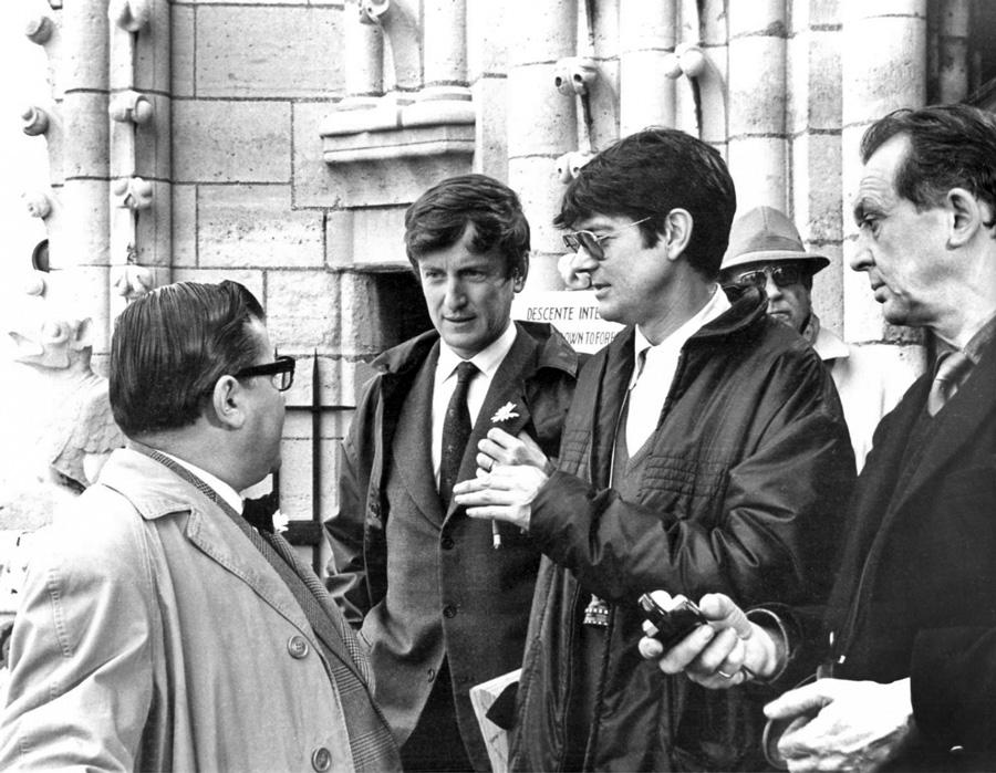 Francis Blanche, Claude Rich et Jean-Pierre Mocky en 1966 sur le tournage des Compagnons de la Marguerite - DR