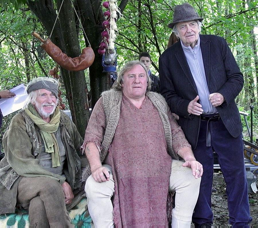 Pierre Richard, Gérard Depardieu et Jean-Pierre Mocky le 11 octobre 2014 sur le tournage de Agafia - © Jérémie Imbert