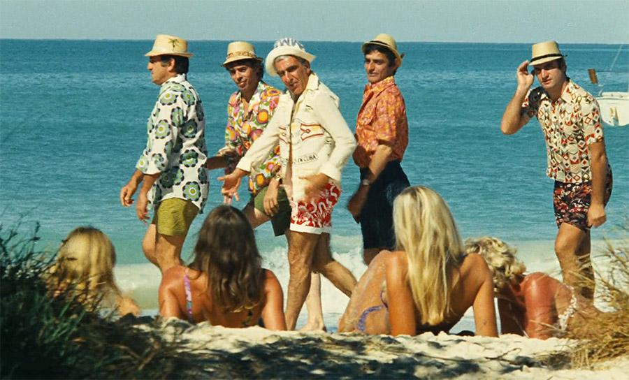 Lino Ventura, Jacques Brel, Charles Gérard, Charles Denner et Aldo Maccione dans L'Aventure c'est l'aventure (Claude Lelouch, 1972) - © Les Films 13