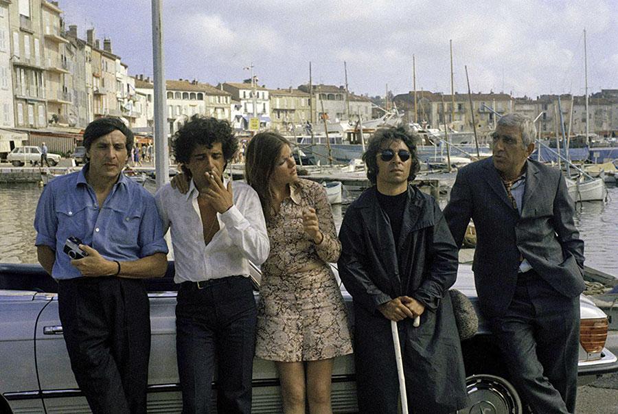 Jean Collomb, Amidou, Catherine Allégret, Francis Lai et Charles Gérard dans Smic, smac, smoc (Claude Lelouch, 1971) - © Les Films 13
