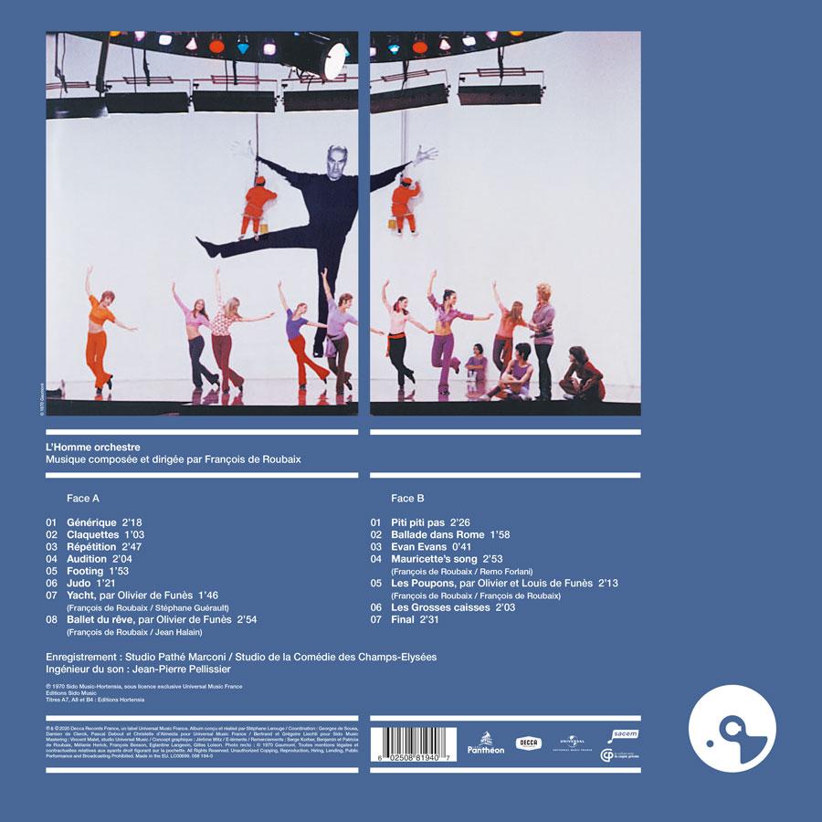 L'Homme orchestre / François de Roubaix (Écoutez le cinéma !) - verso 33 tours