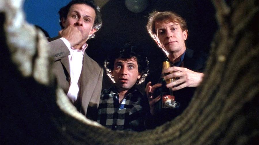 Roland Giraud, Michel Boujenah et André Dussollier dans 3 hommes et un couffin (Coline Serreau, 1985)
