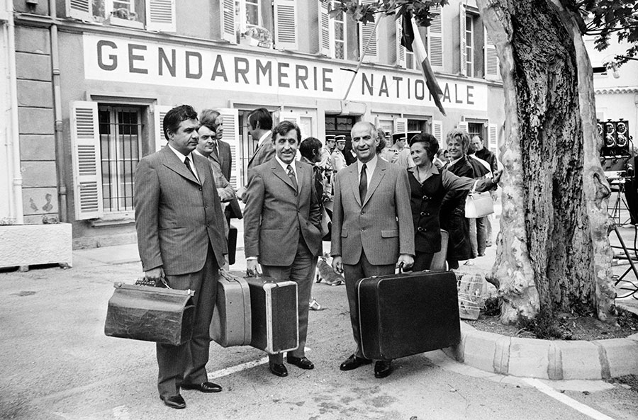Michel Galabru, Jean Lefebvre et Louis de Funès sur le tournage du Gendarme en balade (Jean Girault, 1970) - © AFP