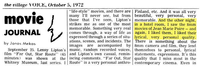 Jonas Mekas - Village Voice (5 octobre 1972)