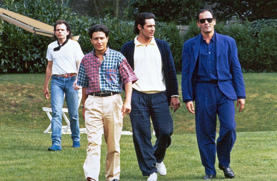Jean-Pierre Darroussin, Christian Clavier, Gérard Lanvin et Jean-Pierre Bacri dans Mes meilleurs copains (Jean-Marie Poiré, 1989)